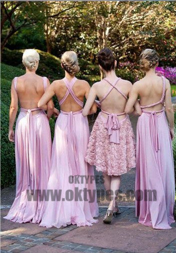 A-line V-neck Floor-length Sleeveless Chiffon Bridesmaid Dresses, TYP0408