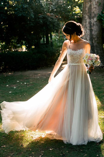 A-line Bateau Sweep/Brush Train Sleeveless Tulle Wedding Dresses, TYP1487