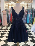 Navy Lace Beaded V Neck Short Cheap Homecoming Dresses Online, CM584