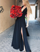 A-Line Deep V-Neck Open Back Long Black Prom Party Dresses with Split, TYP1286