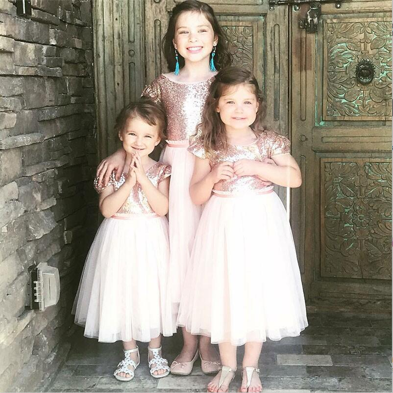 A-Line Rose Gold Round Neck Tea-Length Flower Girl Dress with Sequins, TYP1154