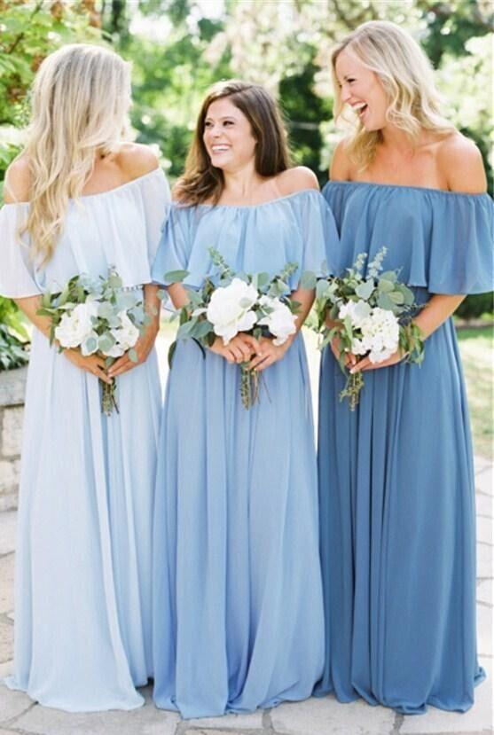 Off the Shoulder Mismatched Bridesmaid Dresses Blue Fitted Bridesmaid Dress, Bridesmaid Dresses, TYP0321