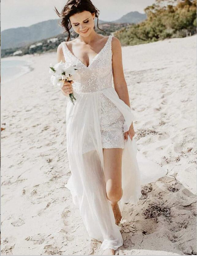 White V-Neck Detachable Train Sequined Long Beach Wedding Dresses, TYP0976