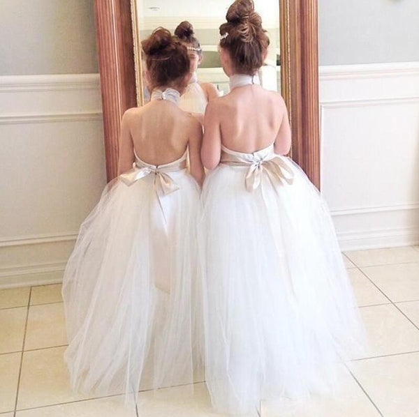 Ball Gown Halter Backless Floor-Length Cheap Flower Girl Dress with Sash, TYP1008