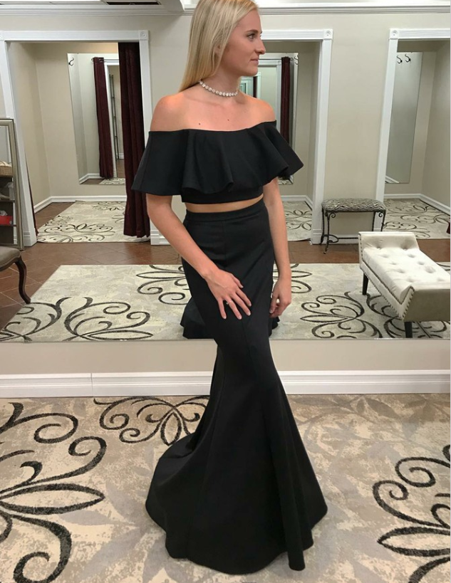 Two Piece Mermaid Off-the-Shoulder Black Prom Dresses with Ruffles, TYP1280