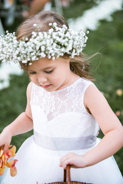 Pretty A-line Tea-length Lace and Tulle Flower Girl Dresses, TYP1049