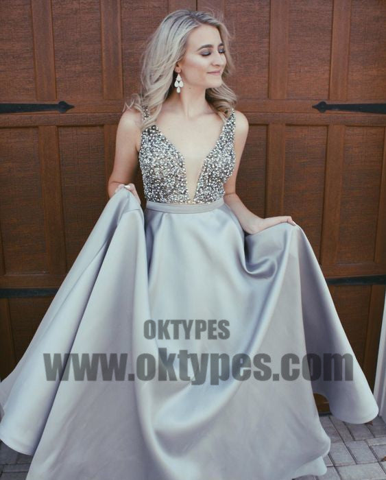 2018 Newest Top Beading Satin V-neck Prom Dresses, Backless Prom Dresses, TYP0375