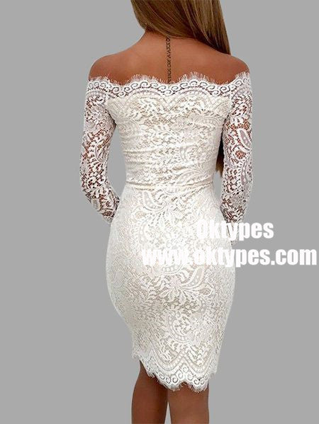 Sheath Off-the-Shoulder Long Sleeves Short Ivory Lace Homecoming Dresses, TYP0884