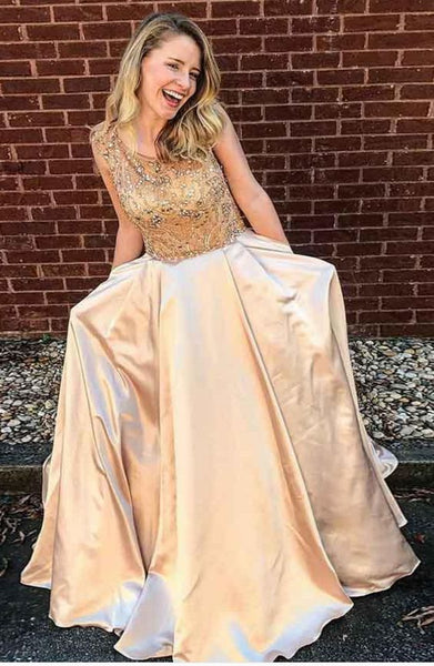 Beaded A Line Floor-Length Gorgeous Fashion Modest Prom Dresses for Party, TYP1198