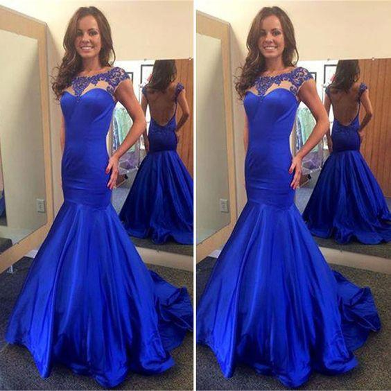 Scoop Neckline Royal Blue Satin Beaded Backless Long Mermaid Prom Dresses, TYP0038