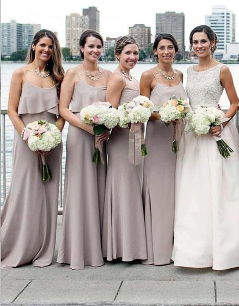Mermaid Spaghetti Straps Grey Long Cheap Chiffon Bridesmaid Dresses Online, TYP1033