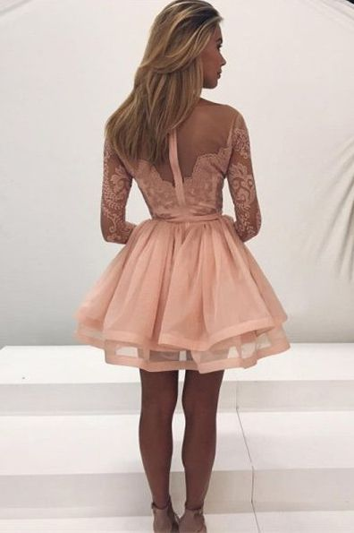 A-Line Bateau Plush Pink Long Sleeve Tulle Homecoming Dresses with Appliques, TYP1081