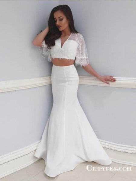 e3e04ff2073 Two Piece Mermaid V-Neck White Floor Length Prom Dresses with Short Sleeve