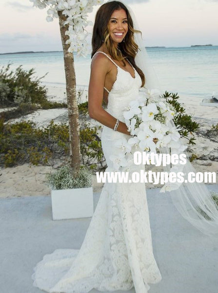 Mermaid Spaghetti Straps Backless Lace Beach Wedding Dresses, TYP0879
