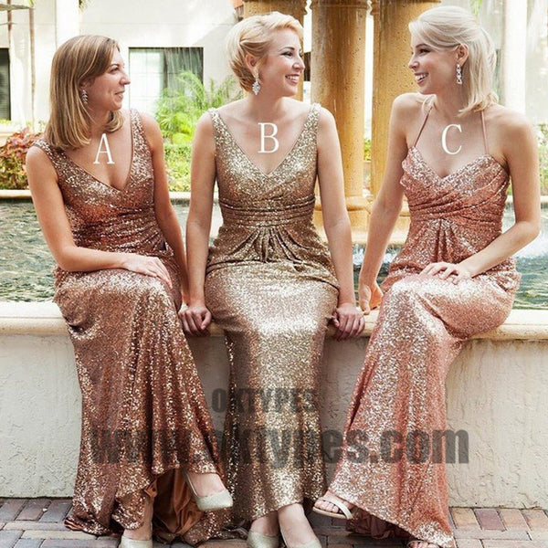 Long Floor Length Bridesmaid Dresses, Sequin Bridesmaid Dresses, Charming Bridesmaid Dresses, TYP0353
