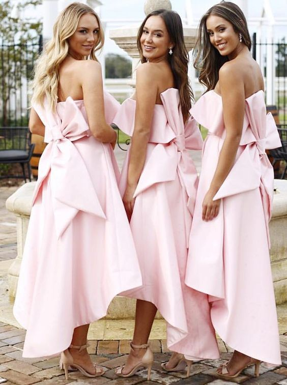 Unique Strapless High Low Pink Satin Bridesmaid Dresses with Bow Knot, TYP1053