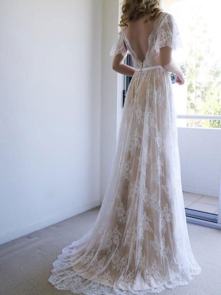 706efa4c9eb9 Short Sleeve V-Neck Sweep Train Lace Boho Wedding Dresses Online, TYP0996