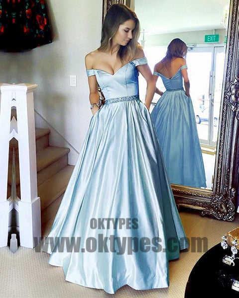 Long Floor Length Ball Gown Prom Dresses, Off-shoulder Prom Dresses, Zipper Prom Dresses, Beading Prom Dresses, TYP0269