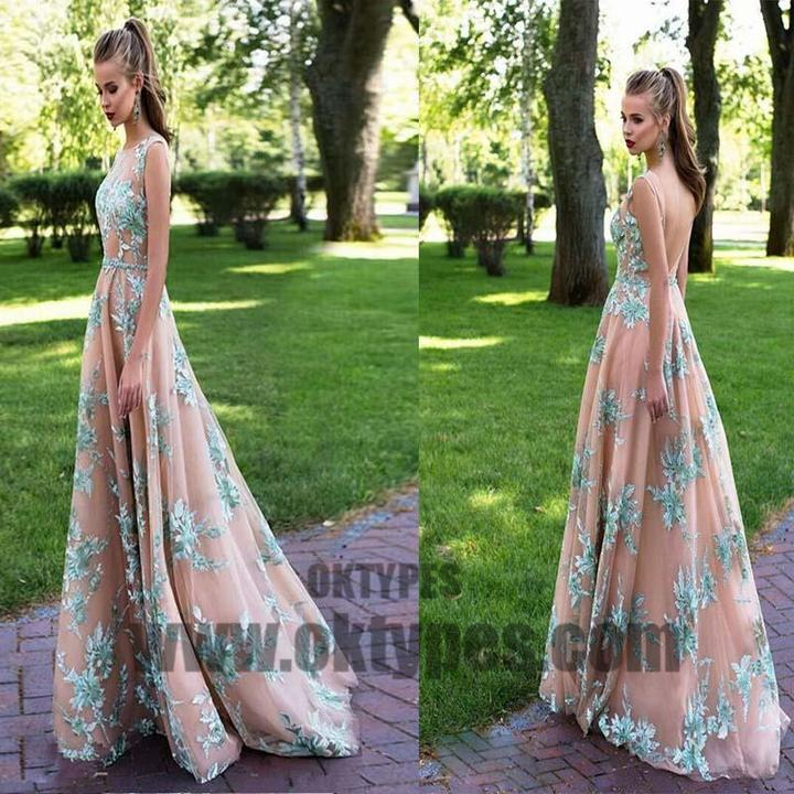 Bateau Applique Floor Length Prom Dress, Charming Prom Dress, Party Prom Dress, Prom Dresses, TYP0502