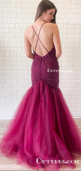 Elegant Spaghetti Straps Purple Tulle Mermaid Sexy Backless Beading Long Cheap Charming Prom Dresses, PDS0043