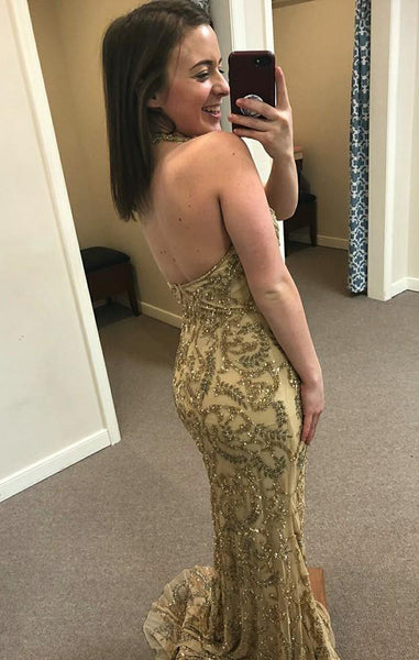 Sheath V-Neck Long Cheap Gold Lace Prom Dresses with Sequined, TYP1342
