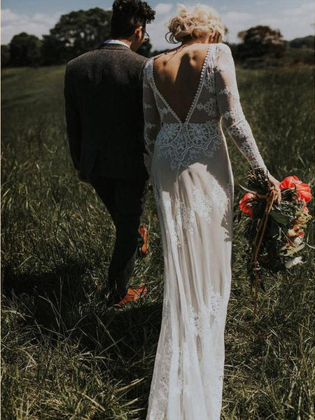 Long Sleeve Ivory Sheath Backless Lace Applique Country Wedding Dresses, TYP1241