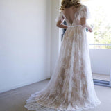 Short Sleeve V-Neck Sweep Train Lace Boho Wedding Dresses Online, TYP0996