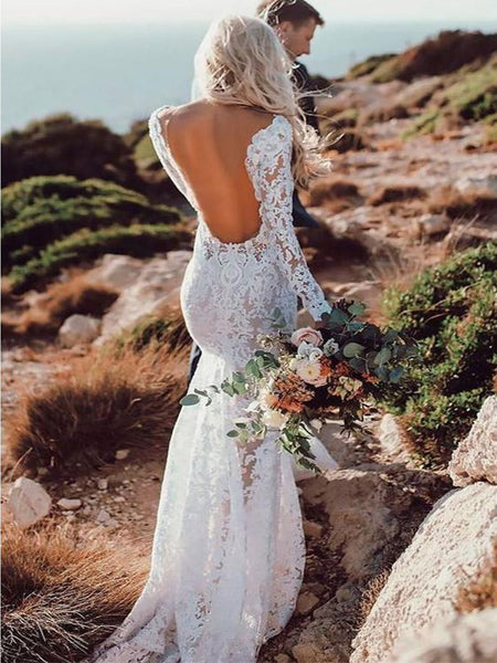 f0347ce47438 See Through Lace Rustic Wedding Dresses Long Sleeve Mermaid Wedding Dresses,  TYP1212