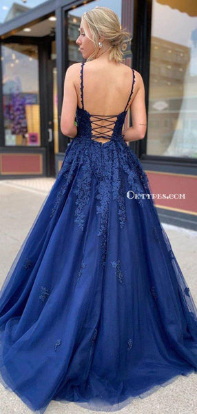 Charming Royal Blue Spaghetti Strap Lace Tulle Backless Side Slit A-line Long Cheap Prom Dresses, PDS0083
