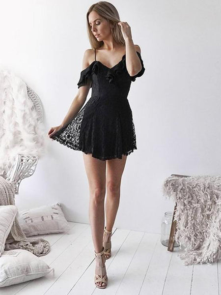 New Arrival Spaghetti Straps Black Lace Short Homecoming Dresses Online, TYP1105