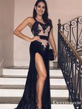 Gorgeous Spaghetti-Straps Velvet Mermaid Sexy Black Side-Slit Prom Dresses, TYP1924