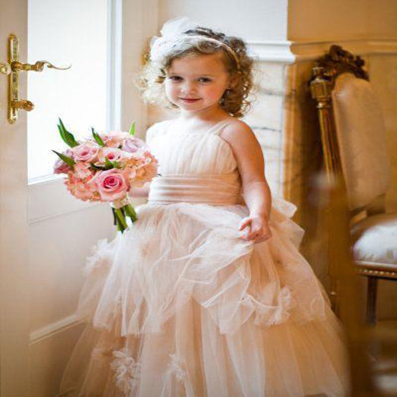 Long Tulle Cheap Rustic Blush Pink Cute Flower Girl Dresses, TYP1216