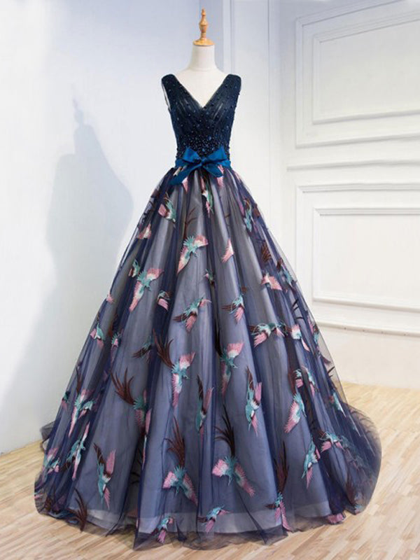 Ball Gown Navy Blue Lace-Up Tulle Prom Dresses with Beading&Appliques, TYP1268