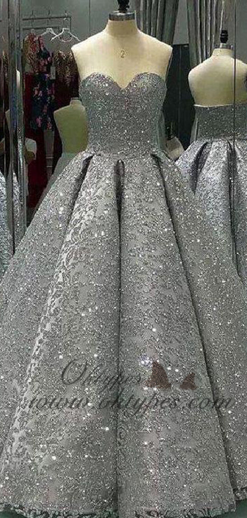 2019 Chic Silver Sequin Ball Gown Long Prom Evening Dresses, TYP1469