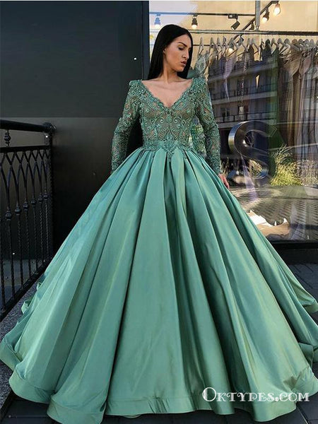 8d492a3c20 Unique Green Foraml Evening Long Sleeve Prom Dresses With Appliques ...