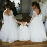 Long Sleeve Lace Top Flower Girl Dresses with Bow-Knot, Tulle Popular Little Girl Dresses, TYP0987