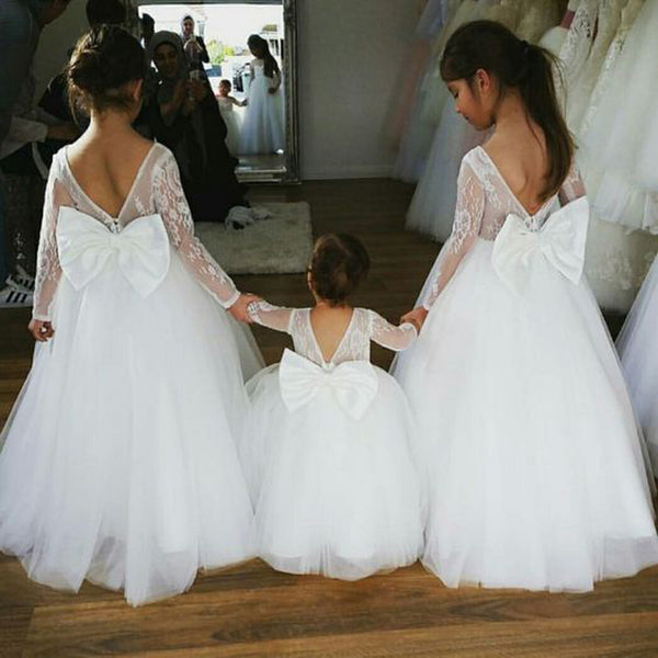 f2cc5f25acd Long Sleeve Lace Top Flower Girl Dresses with Bow-Knot