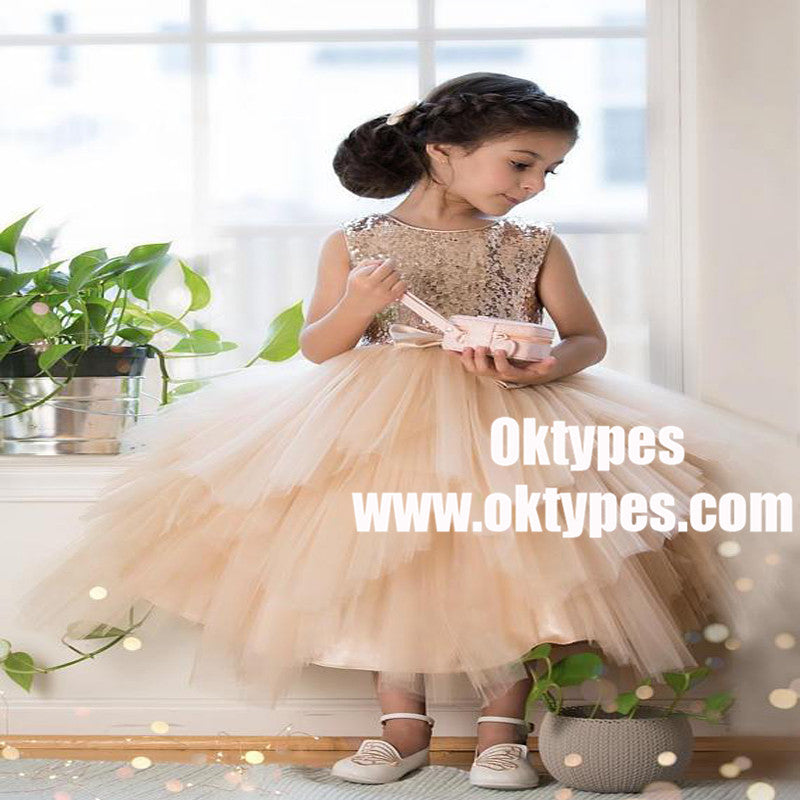 61086fa0035 Sequin Top Champagne gold Flower Girl Dress