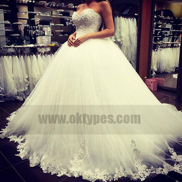 Sweetheart Lace Appliques Ball Gown Tulle Wedding Dresses, Wedding Dresses, TYP0759