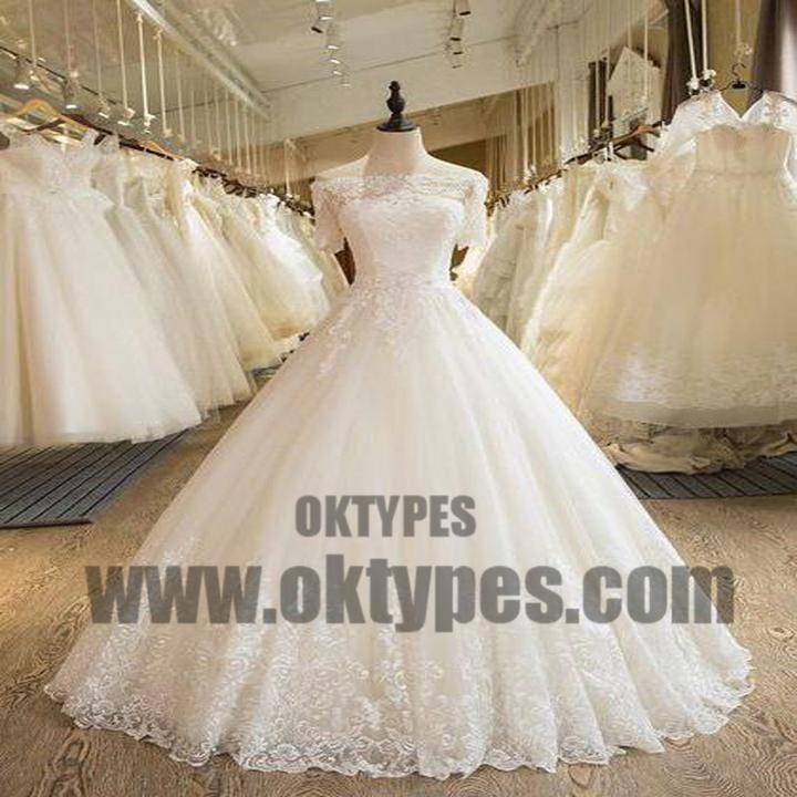 Beautiful Wedding Dresses Off-the-shoulder Ball Gown Lace Ivory ...