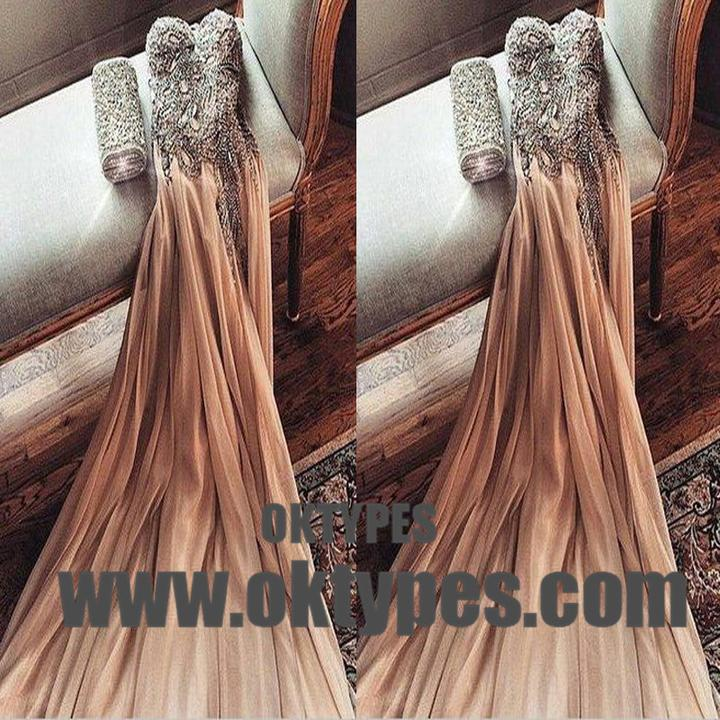 Shinny Top Beaded Tulle Prom Dresses, Sweetheart And Backless Prom Dresses, TYP0671