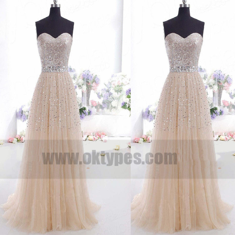 A-line/Princess Sweetheart Zipper Back Sequins Tulle Floor-length Prom Dresses with Beaded, TYP0749