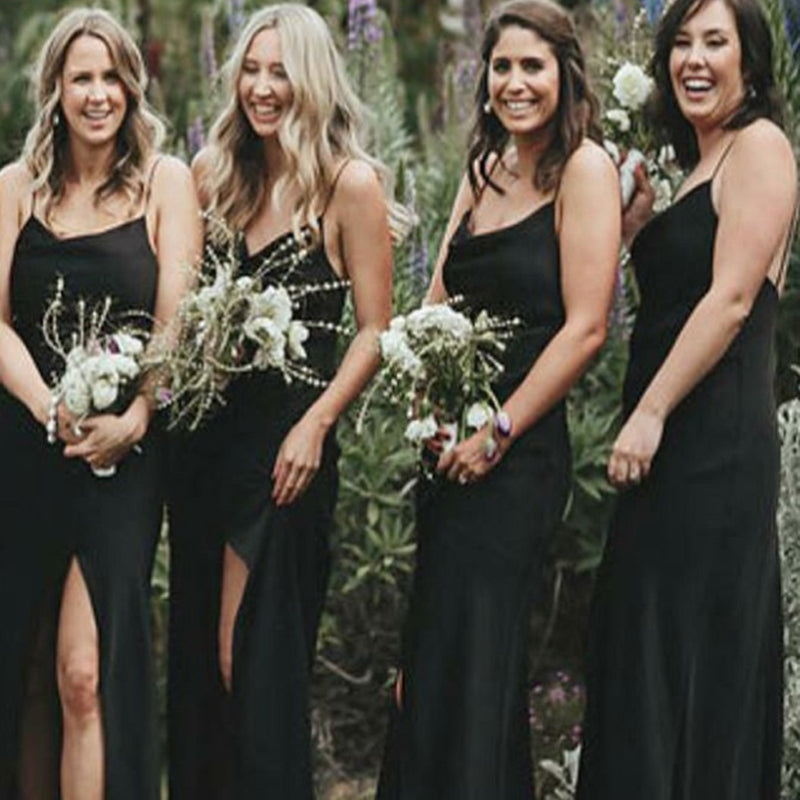 Sheath Spaghetti Straps Black Chiffon Bridesmaid Dresses with Split, TYP1315