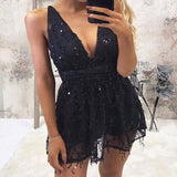 Sexy V-neck Sleeveless Short Black Cheap Homecoming Dress with Sequins, TYP1001