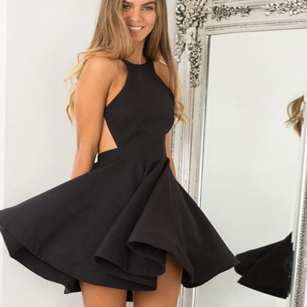 A-Line Jewel Sleeveless Backless Short Black Short Satin Homecoming Dresses, TYP1021
