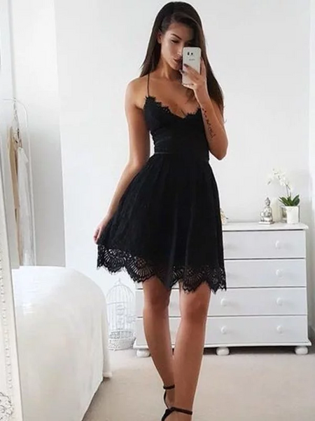 e5d1b25d153 Spaghetti Straps Sleeveless Short Black Lace Simple Homecoming Dresses