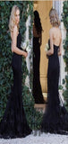 Black Long Lace Mermaid Bridesmaid Dresses, Sweetheart Jersey Backless Bridesmaid Dresses, TYP0363