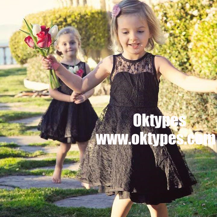 Round Neck Illusion Black Lace Cute V-back Flower Girl Dresses, TYP0849