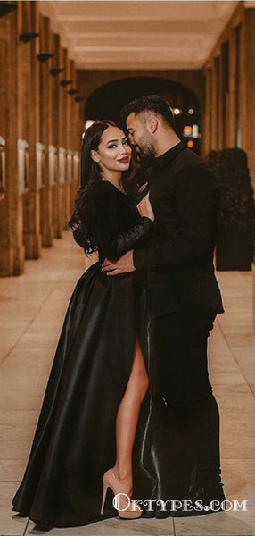 Charming A-Line V-Neck Black Long Sleeves Long Prom Dresses with Belt, TYP1690