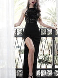 Sheath Scoop Neck Lace Jersey Long Mermaid Split Prom Dresses, TYP1705